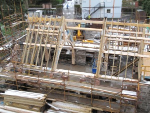 The roof over the extension continues to take shape!