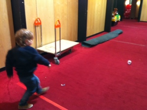 One of our science festival attendees practicing his throws!
