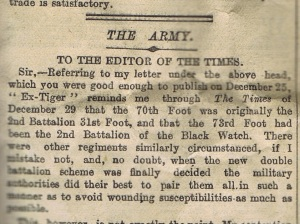 The Black Watch is mentioned! Excerpt from The Times, 5 January 1900.