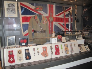 The Wavell case in the Second World War gallery of The Black Watch Castle and Museum. The Star of India is second from the left of the decorations at the front of the case.