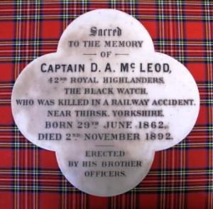 Memorial plaque to Captain Duncan McLeod of The Black Watch, who died in the Thirks railway disaster.