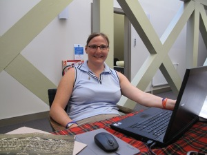 Laura works with a team of volunteers to help inventory artefacts and update our collections management system.
