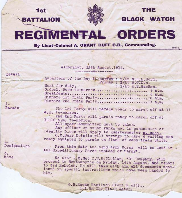 1st Battalion Regimental Orders from Lt Col Adrian Grant Duff.