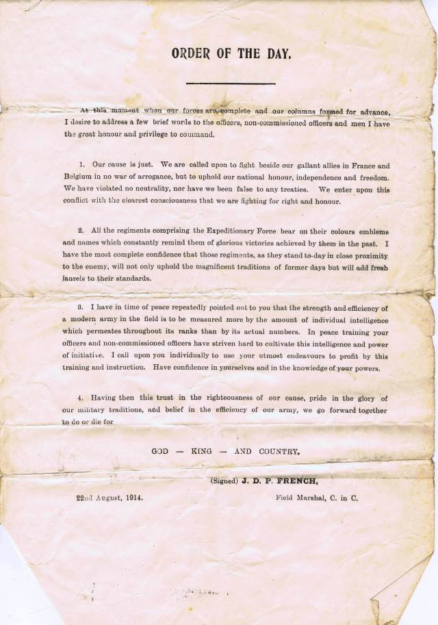Address to the troops from Sir John French, 22 August 1914.