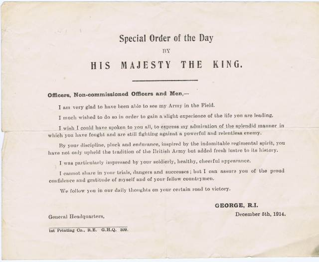 Message to the troops from King George V on 5 December 1914.