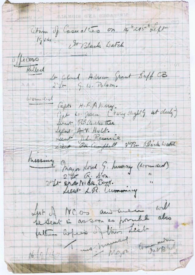 Handwritten casualty list from the battle of the Aisne.