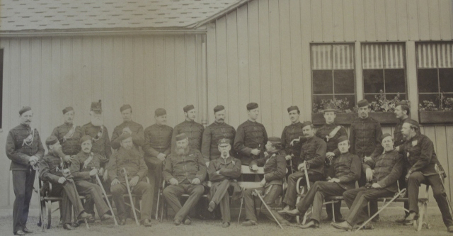 Photograph of members of the Royal Perthshire Rifles, 1880