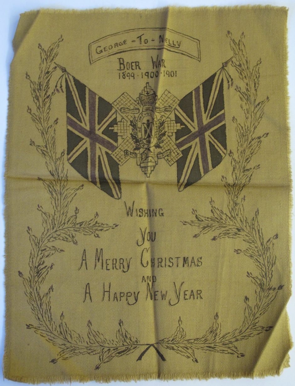 Hand-painted Christmas card on khaki cloth, made by Private McFarlane during his service in the Boer War.
