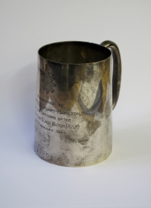 Silver tankard presented to Captain Stuart-Hamilton