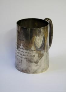 Silver tankard presented to Captain Stuart-Hamilton